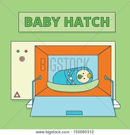 Baby hatch or baby box. Abandoned newborn boy or human male offspring vector illustration. Cartoon infant child or toddler in special camera. Foundling wheel image in flat line style.