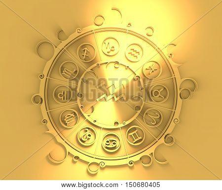 Astrological symbols in the circle. Golden emblem. Metallic material. 3d rendering. Water bearer sign