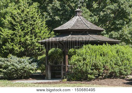 Wooden retro vintage pavilion in green  park