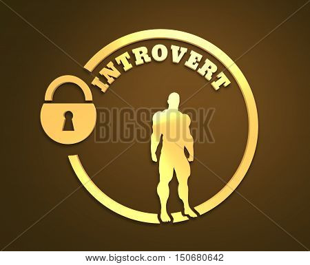 introvert word and muscular man in the locked circle. 3d rendering.
