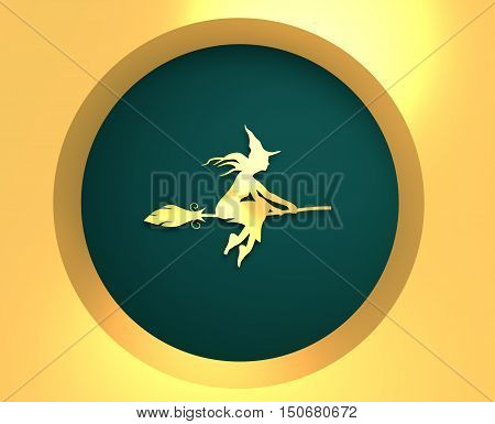 Illustration of flying young witch icon. Witch silhouette on a broomstick. Raven sit on hand. Halloween relative image. 3d rendering. Metallic material icon