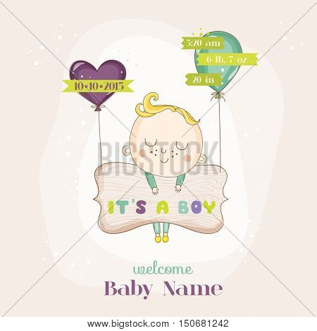 Baby Boy with Balloons - Baby Shower or Arrival Card - in vector