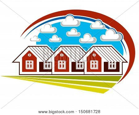 Colorful vector illustration of country houses on nature background with white clouds. Village theme bright picture construction and real estate idea.