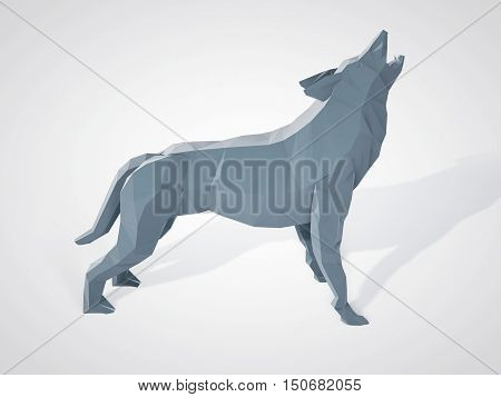 3D illustration of origami wolf howling. Polygonal wolf side view. Geometric style grey wolf.
