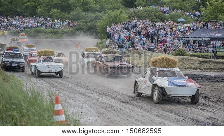 Rostov-on-Don Russia- June 052016: Car Race for survival on the Bizon Track Show.Spectators watch the race