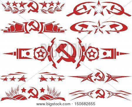 Set Of Red Color Soviet Vignettes