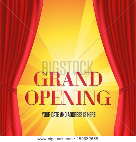 Grand opening vector illustration, background with red curtain and gold lettering sign. Template banner, flyer, design element, decoration for opening ceremony