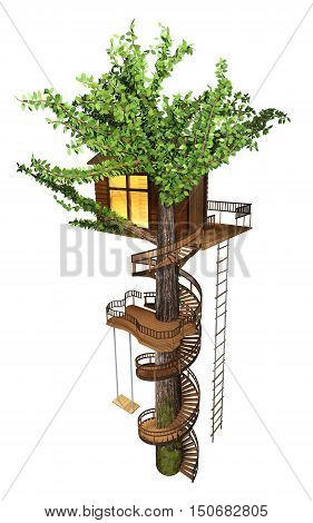 Tree house with a spiral staircase, swing, rope-ladder.