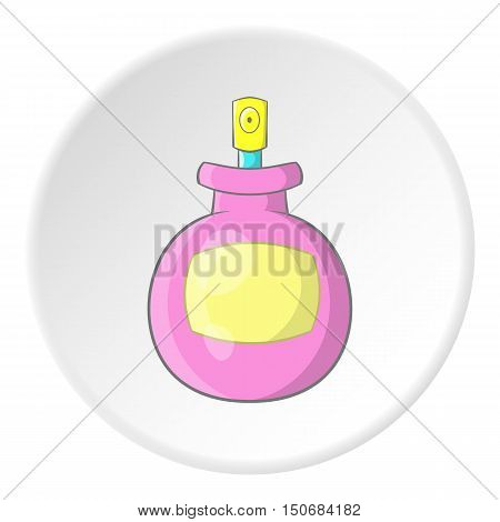 Spray bottle icon in cartoon style isolated on white circle background. Tool for disinfection symbol vector illustration