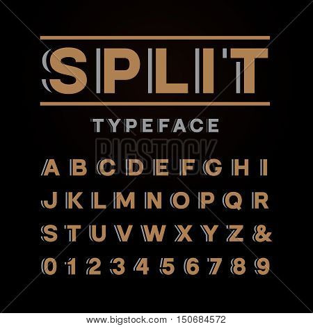 Bold Font. Vector Alphabet With Split Effect Letters And Numbers.