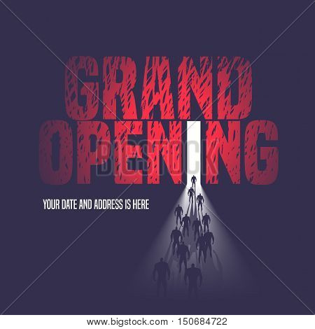 Grand opening vector illustration, background with open door and walking people. Template nonstandard banner, flyer, design element, decoration for opening event
