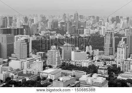 Black and White, Bangkok city downtown aerial view, Thailand