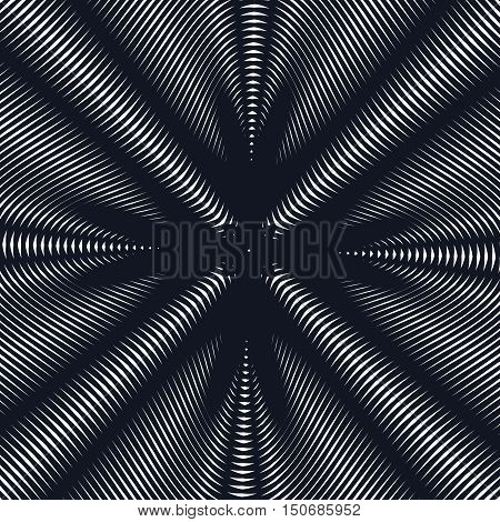 Illusive background with black chaotic lines moire style. Contrast geometric trance pattern.