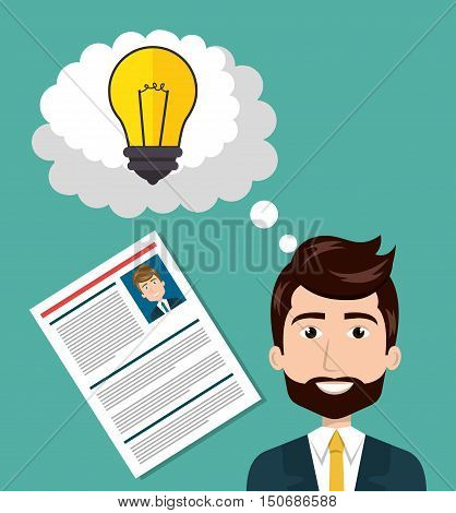 avatar man smiling wearing suit and tie with curriculum vitae document and bulb light inside speech bubble. colorful design. vector illustraiton