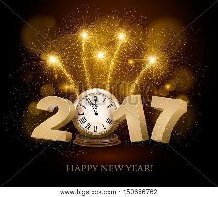 Happy New Year background with 2017, a clock and fireworks. Vector.