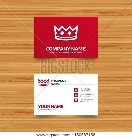 Business card template. Crown sign icon. King hat symbol. Phone, globe and pointer icons. Visiting card design. Vector