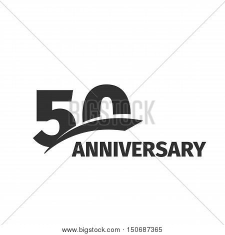 Isolated abstract black 50th anniversary logo on white background. 50 number logotype. Fifty years jubilee celebration icon. Fiftieth birthday emblem. Vector anniversary illustration