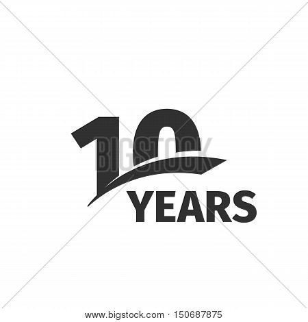 Isolated abstract black 10th anniversary logo on white background. 10 number logotype. Ten years jubilee celebration icon. Tenth birthday emblem. Vector anniversary illustration