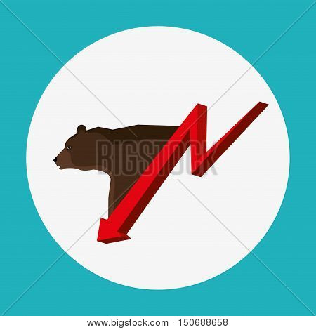 bear and red arrow down. stock exchange finance design. vector illustration