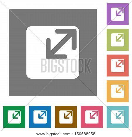 Resize window flat icon set on color square background.