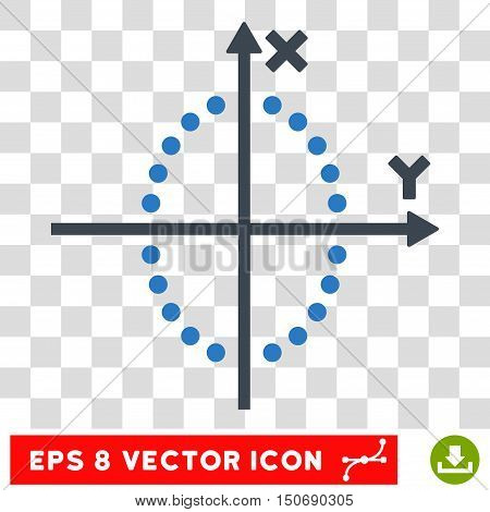 Vector Ellipse Plot EPS vector pictogram. Illustration style is flat iconic bicolor smooth blue symbol on a transparent background.