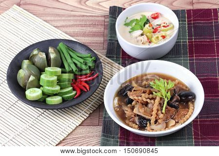Organic Thai recipe as coconut milk and fermented soy bean sauce call