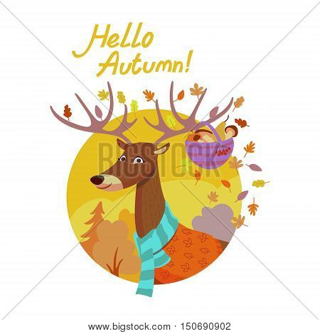 Colorful illustration of seasons theme in vector. Hello autumn concept. Modern vintage colors, flat design. Mug with hot tea and coffee, maple leaf, cookie. For advetrising, bakery, autumn banners, post-card