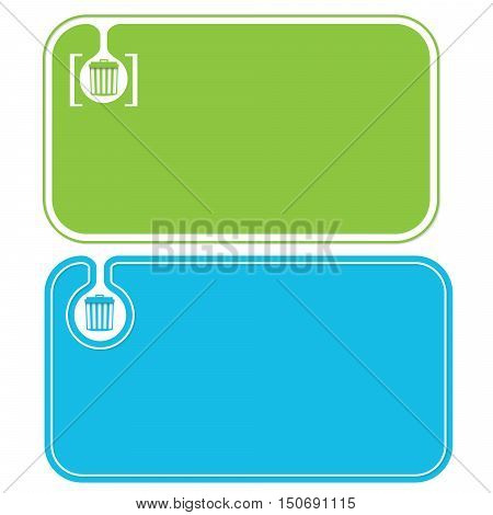 Colored business cards and trashcan symbol and brackets