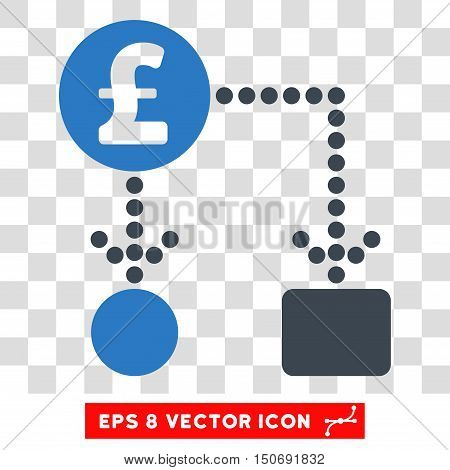 Vector Pound Cashflow EPS vector pictograph. Illustration style is flat iconic bicolor smooth blue symbol on a transparent background.