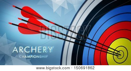 championship 3d archery target with arrows on blue background