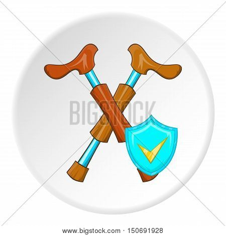 Walking stick and sign safety icon in cartoon style isolated on white circle background. Accident prevention symbol vector illustration