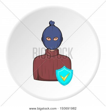 Robber and sign security icon in cartoon style isolated on white circle background. Safety symbol vector illustration