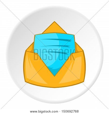 New letter icon in cartoon style isolated on white circle background. Message symbol vector illustration