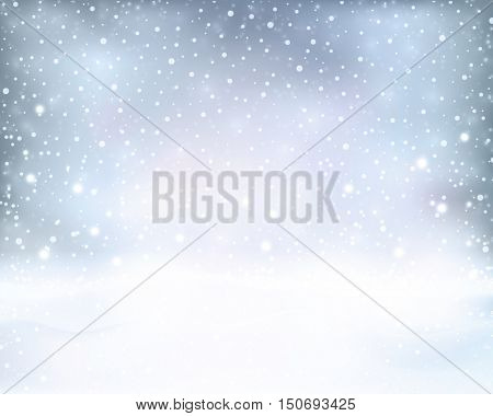Light effects, sparkling out of focus lights and snowfall for a magical abstract backdrop for the festive Christmas, winter holiday season to come.