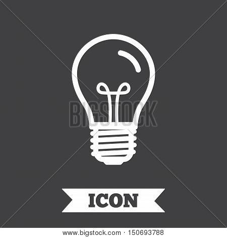 Light bulb icon. Lamp E27 screw socket symbol. Illumination sign. Graphic design element. Flat e27 lamp symbol on dark background. Vector
