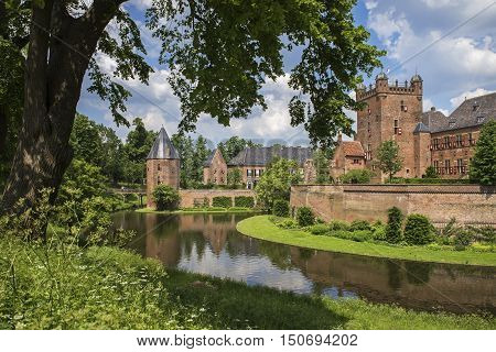 S'HEERENBERG, GELDERLAND/ THE NETHERLANDS - JUNI 4,2016:View of the historical castle Haus Berg in summer