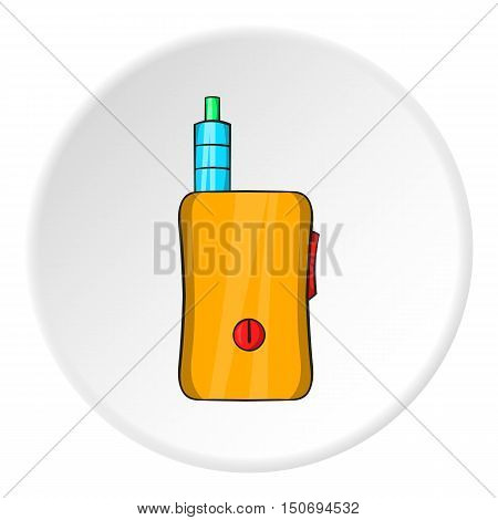 Electronic cigarette with mouthpiece icon in cartoon style isolated on white circle background. Smoking symbol vector illustration