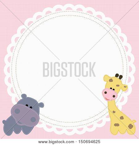 Baby round frame in the form of napkins with a giraffe and Hippo on a pink background. template greeting or invitation. baby vector illustration. Baby shower or arrival