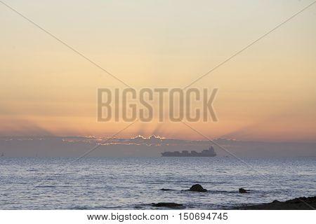 Cargo Ship sea route Melbourne bay, Australia