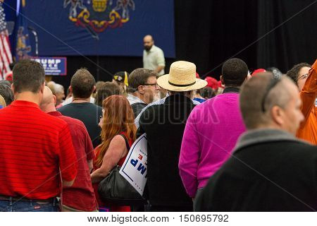 Manheim PA - October 1 2016: An Amish man stands in the crowd at the Donald Trump at his campaign political rally Lancaster County.
