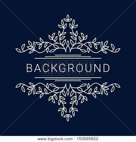 Elegant floral frame. Lineart vector illustration with text on dark blue background