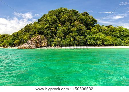 Beach and sand with ocean bluesky beautiful Koh LipeThailand