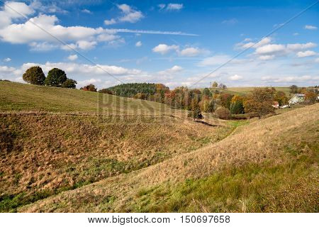mountainous landscape in autumn, Hummelshain, Thuringia, Germany