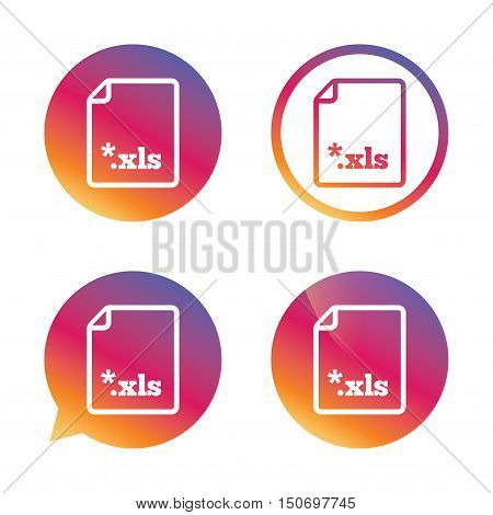 Excel file document icon. Download xls button. XLS file extension symbol. Gradient buttons with flat icon. Speech bubble sign. Vector