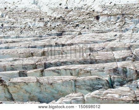 Beautiful blue seracs in a Caucasian mountains