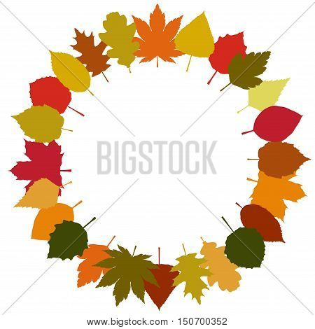 Autumn leaves round frame on white background. Vector illustration.