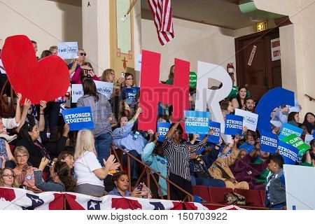 Harrisburg PA USA - October 4 2016: Supporters cheering at the rally for Presidential candidate Hillary Clinton.
