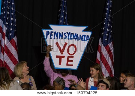 Harrisburg PA USA - October 4 2016: Pennsylvania Vote sign at the rally for Presidential candidate Hillary Clinton.