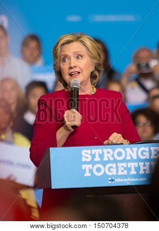 Harrisburg PA USA - October 4 2016: Presidential candidate Hillary Clinton speaking to supporters at Zembo Shrine in Harrisburg urging them to register to vote.