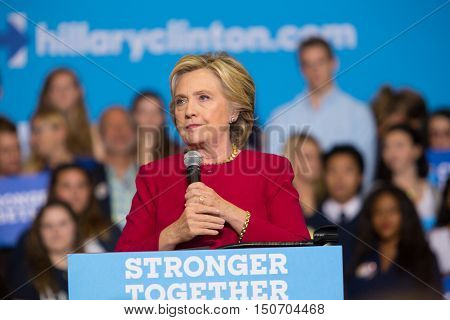 Harrisburg PA - October 4 2016: Presidential candidate Hillary Clinton speaks supporters at Zembo Shrine in Harrisburg urging them to register to vote.